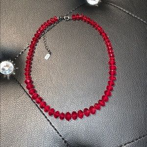 """NWOT """"1928"""" red beaded choker necklace"""